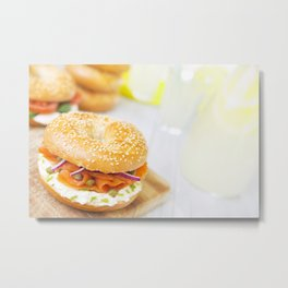 Bagel with salmon and cream cheese, brightly lit Metal Print