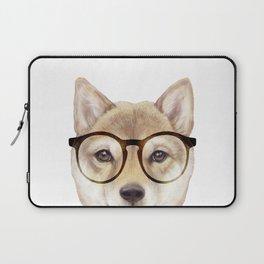 Shiba inu with glasses Dog illustration original painting print Laptop Sleeve