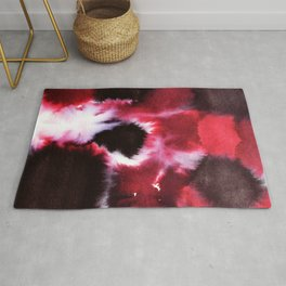Red and Black color Pattern, Watercolor Pattern Rug