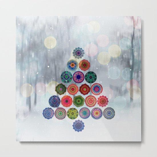 Abstract Christmas Tree Metal Print