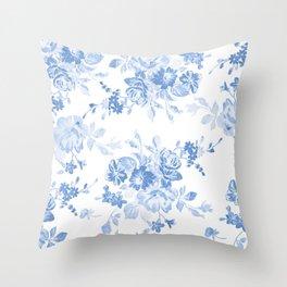 Modern navy blue white watercolor elegant floral Deko-Kissen