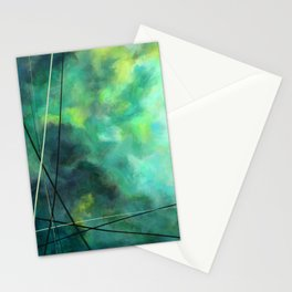 Crossed Green - Abstract Art Stationery Cards