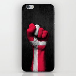 Danish Flag on a Raised Clenched Fist iPhone Skin