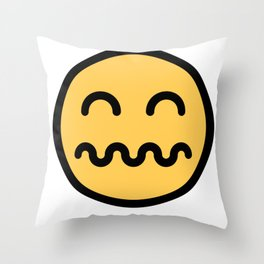 Smiley Face   Distressed Face Throw Pillow