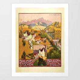 old placard brauerei stocken bruggen st gallen brasserie Art Print