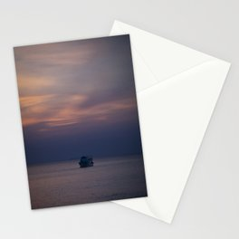 Boat at sunset Stationery Cards