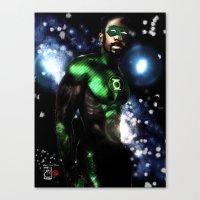 john green Canvas Prints featuring John Stewart : The Green Lantern by André Joseph Martin