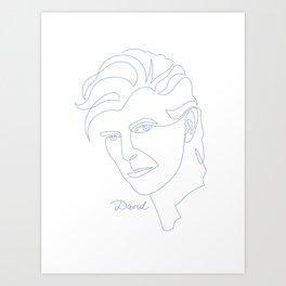 David Oneline Blue Art Print