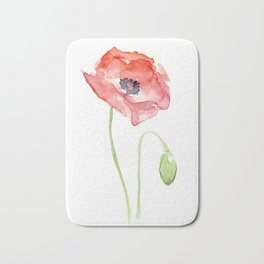 Red Poppy Watercolor Flower Floral Abstract Bath Mat