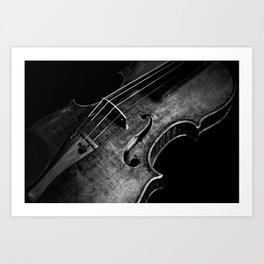 Black and White Violin Art Print