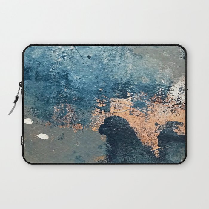 Wander [2]: a vibrant, colorful, abstract in blues, pink, white, and gold Laptop Sleeve
