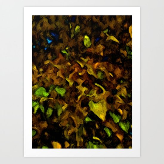 Gold Leaves with some Green and Brown Art Print