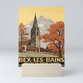 retro old bex les bains vallee du rhone suisse bains salins station climaterique poster Mini Art Print