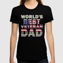 Father's Day Veteran Dad World's Best Veteran Dad American Flag T-shirt