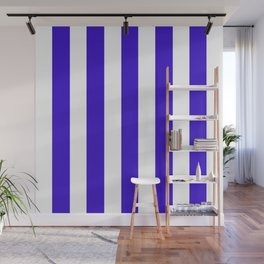 Interdimensional blue - solid color - white vertical lines pattern Wall Mural