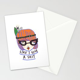 like i give a shit there's a naked rabbit on my head Stationery Cards