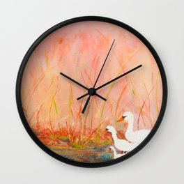 Gooses day out on the pond Wall Clock