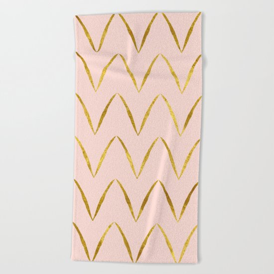 Pink Gold Foil 05 Beach Towel