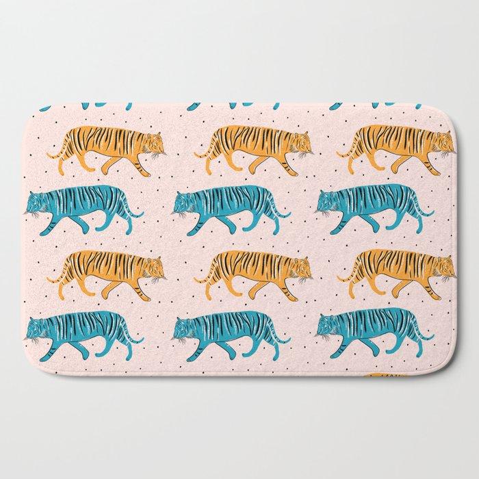 Pop Tigers on blush Bath Mat
