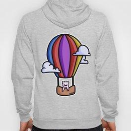 Cat balloon ride sky clouds children gift Hoody