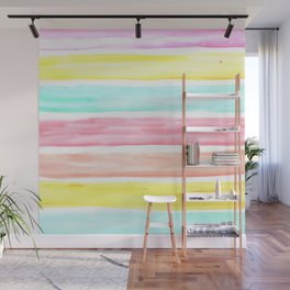 Pastel Watercolor Stripes Wall Mural