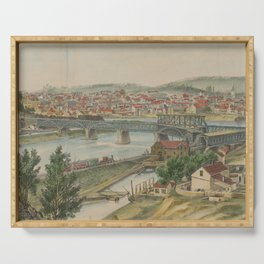 Vintage Pictorial Map of Easton PA (1862) Serving Tray