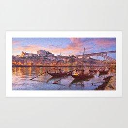 Porto at dusk Art Print
