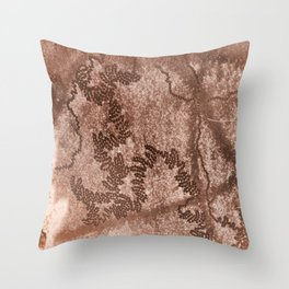 Snail trails on brown bark Throw Pillow