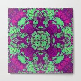 mandala 5 green purple #mandala Metal Print