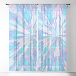 Pastel Starburst in Pink, Blue and White Sheer Curtain