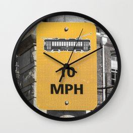 Ybor City Florida Trolly Sign 10 MPH Yellow Selective Color Wall Clock