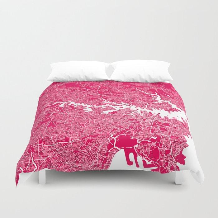 Sydney map raspberry Duvet Cover