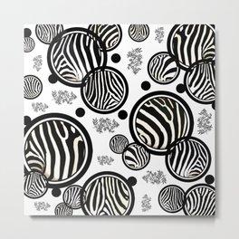 Zebra Circles Metal Print
