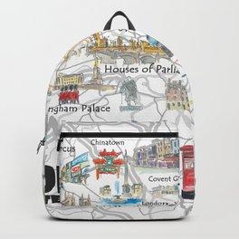 London UK Illustrated Travel Poster Favorite Map Tourist Highlights Backpack