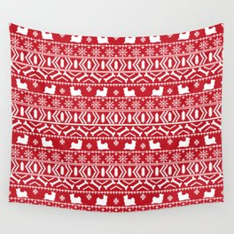 Biewer Terrier fair isle christmas red and white pattern minimal dog breed pet designs Wall Tapestry