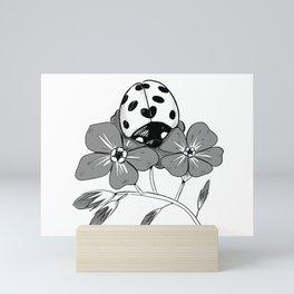 Ladybird Ladybug on a Forget-me-not Mini Art Print