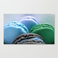 macaroons Canvas Prints featuring MACAROONS Blue Aqua Turquoise by Whimsy Romance & Fun