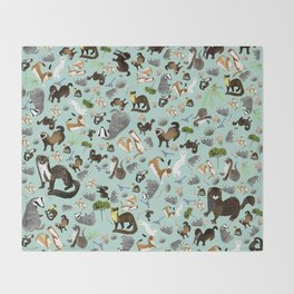 Mustelids from Spain pattern Throw Blanket