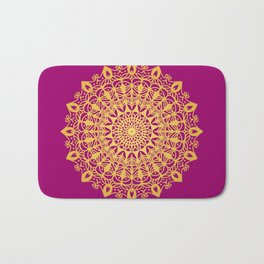 Gold yoga mandala Indian henna pattern Bath Mat
