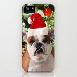 Santa Hat Bulldog Christmas Tree Snowman Gift Box iPhone Case