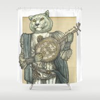 banjo Shower Curtains featuring Banjo Lion by Felis Simha