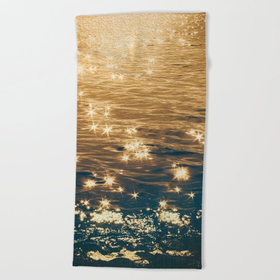 Sparkling Ocean in Gold and Navy Blue Beach Towel