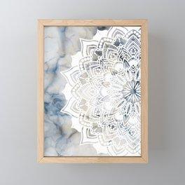 White cut-out mandala on marble Framed Mini Art Print