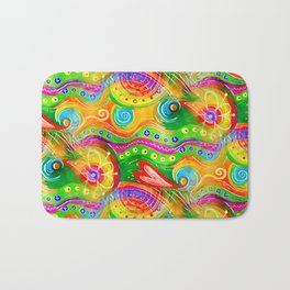 Seamless Abstract Watercolour Doodle Pattern Bath Mat