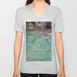 Riding Around Arashiyama, Boats and Trees Reflected in the Canals Unisex V-Neck