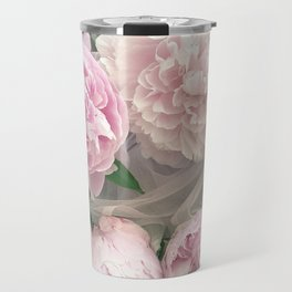 Shabby Chic Pastel Pink Peonies Wall Art - Peonies Home Decor Travel Mug