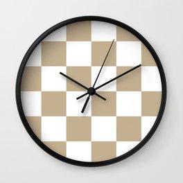 Large Checkered - White and Khaki Brown Wall Clock