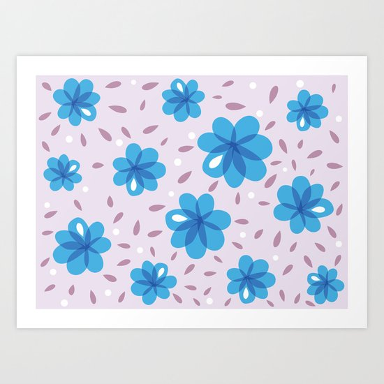 Gentle Blue Flowers Pattern Art Print
