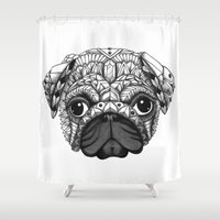 pug Shower Curtains featuring Pug by Adrian Dominguez