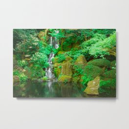 Fountain and pond in Japanese Zen Garden Metal Print